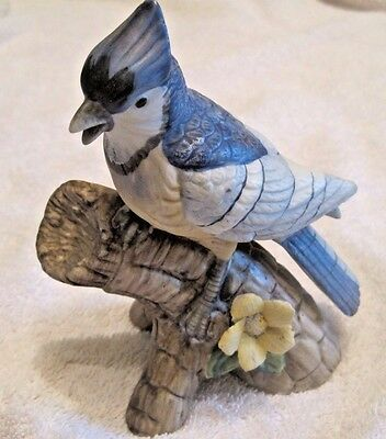 Collectible Porcelain/ceramic Blue Jay Hand painted  figurine Great detail