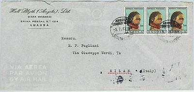 61102  - ANGOLA - POSTAL HISTORY -  COVER  to ITALY 1963