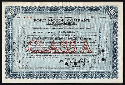 1929 Dominion of Canada: Ford Motor Company of Canada - 100 Shares