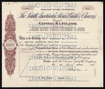 1955 Argentina: South American Stores (Gath & Chaves) Share Certificate