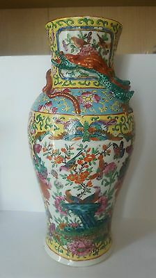 Antique Chinese Porcelain yellow ground canton vase 19th century