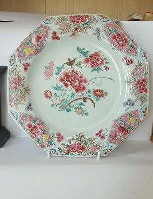 Chinese Antique Porcelain Famille Rose Octagoal Plate 18th Century