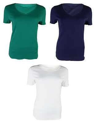Ex M&S Womens Ladies Classic Top T-shirt Pure Cotton Short Sleeve V Neck  Marks