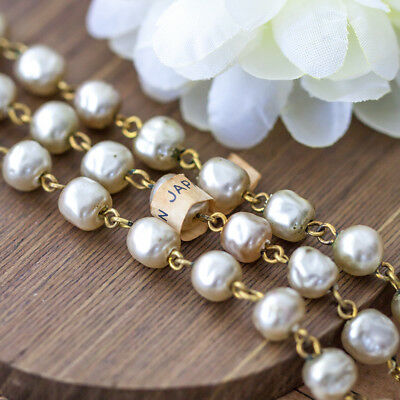 Vintage Miriam Haskell Baroque Oyster Glass Pearl Bead Link Chain From Japan