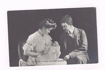 SWEDEN antique 1907 db Royalty Post Card Baby Prince Sigvard born in 1907