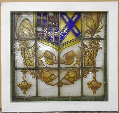 "MID SIZED OLD ENGLISH LEADED STAINED GLASS WINDOW Handpainted Shield 24"" x 22.5"""