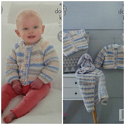 KNITTING PATTERN Baby Textured Cardigans & Blanket Candystripe DK King Cole 4814