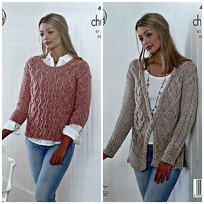 KNITTING PATTERN Ladies 3/4 Sleeve Cable Jumper & Cardigan Authentic Chunky 4894