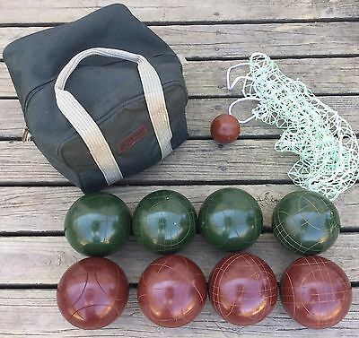 Old Vtg Bocce Ball Brookstone Set Outdoor Backyard Lawn Game Sport Carrying Case