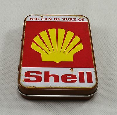 Superb Vintage Tin Plate Keepsake Tin 'You Can Be Sure of Shell' Garage/Tobacco