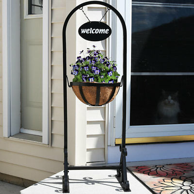 Sunnydaze Hanging Basket Planter Stand with Metal Welcome Sign - 45 Inch Tall