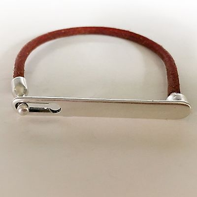 Leather Cord Bracelet with Antique Silver Metal Toggle Bar Clasp fits 7-8 Unisex