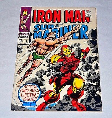 Iron Man and Sub-Mariner 1 Silver Age 1968 NICE F/VF