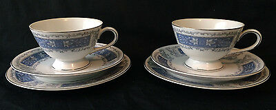 Vintage Pair Trio Tea Cup Meito China Jasper Pattern Saucer Bread & Butter Plate
