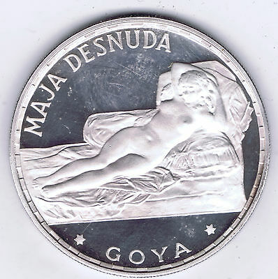 1970 Equatorial Guinea .999 Silver Proof 100 P Goya Naked Maja Km# 13.5 Packaged