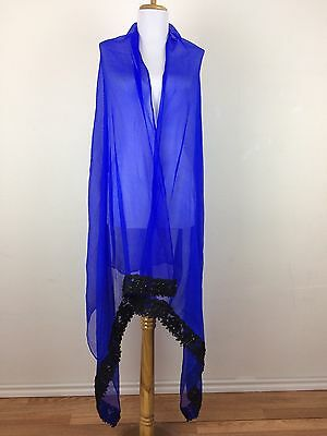 Vintage 1980s Scarf Shawl Blue Chiffon Black Floral Lace Beaded Sequin