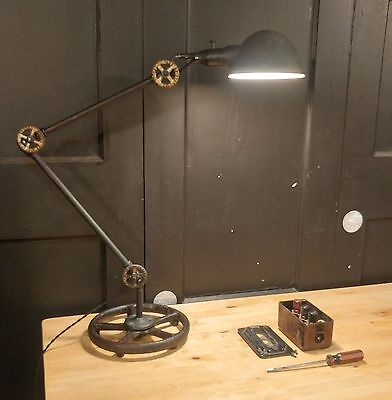 Vintage Industrial Desk Lamp - Adjustable Table Light Steampunk REWIRED