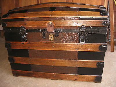 Restored 1800s Antique ALLIGATOR Dome Top Steamer Trunk Stage Coach Chest