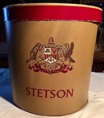 VINTAGE 1950's ROUND STETSON HAT BOX Large Tall