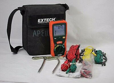 Extech Earth Resistance Tester Kit 382252 w/ Leads & Case, 20 - 2000 Ω, AC/DC