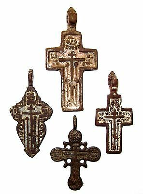 Ancient lot of 4 bronze Believer crosses Middle Ages. #061