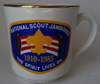 1985 Boy Scout Jamboree Mug BSA Coffee Cup 1910-1985 Spirit Lives On 1