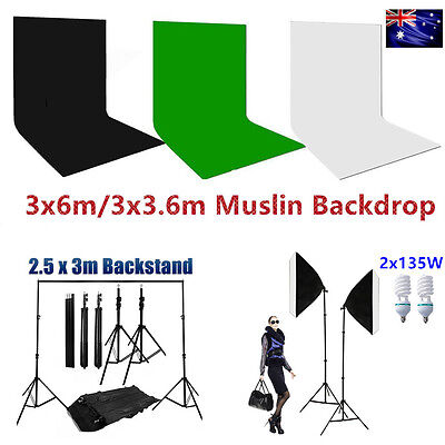 Photo Studio Muslin Background Stand Softbox Soft Box Continuous Lighting Kit AU
