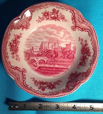"Johnson Bros Old Britain Castles red transferware 5 1/4"" fruit/sauce bowl 3 aval"