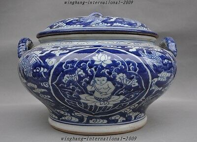 old Chinese blue and white porcelain crane lotus Boy statue jar pot Tanks Crock