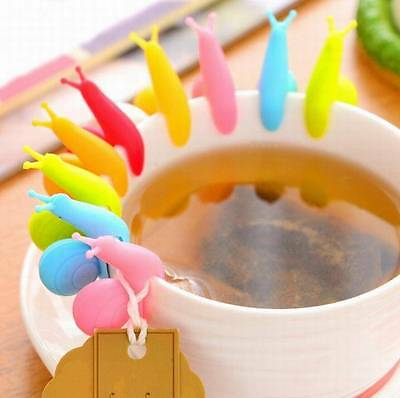 5pcs Snail Shape Silicone Tea Infuser Bag Holder Cup Mug Candy Colors Gift SetTW
