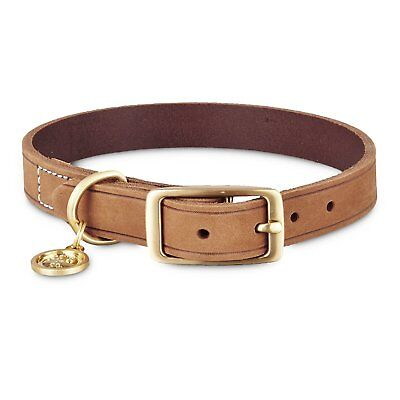 Bond & Co. Suede Leather Dog Collar in Dark Brown, For Neck Sizes 18-21, Large/E