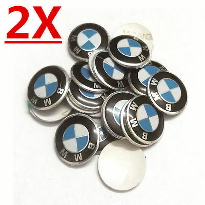 2x  KEY logo emblem replacement sticker Remote fob For BMW 1 3 5 6 series 11mm