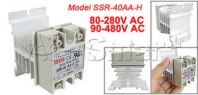 SSR-40AA-H 40A Solid State Relay Module 80-280V AC / 90-480V AC + Heat Sink AS