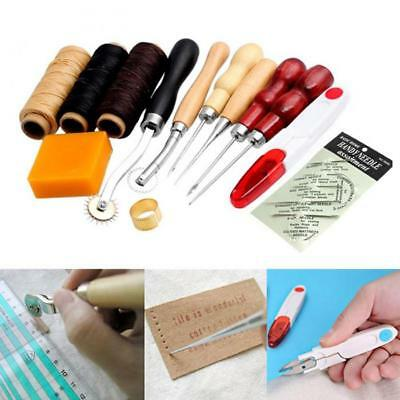 13Pcs Set Kit Leather Craft Hand Stitching Sewing Tool Thread Awl Waxed Thimble