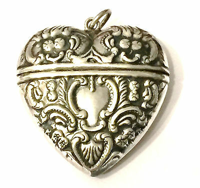 Sterling Silver Embossed Heart Shaped Pill Box