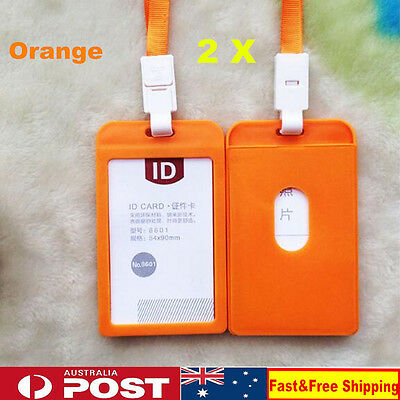2x ID Badge Holder Vertical Hard Plastic With Neck Strap Lanyard Orange AU Stock