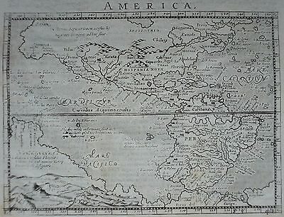 1704 Rare North South America Original Copper Engraving Antique Map Magini