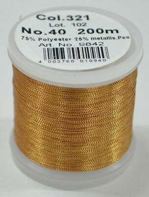 Madeira Metallic 40, Machine Embroidery Thread, 200m ROSE GOLD, Colour 321