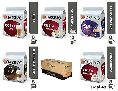 TASSIMO COFFEE T-DISCS - Pods Capsules 4 or 8 Cups - 48 Flavours To