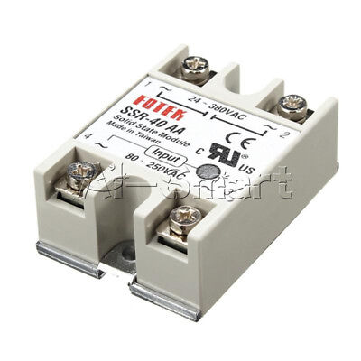 40A SSR-40AA Solid State Relay Module 80-280V AC / 90-480V  Aluminum Heat Sink