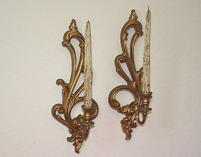 Vintage Pair Of Syroco Homco Gold Tone Wall Sconce With Original Wooden Candles