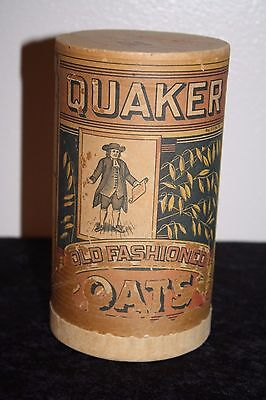 Vtg Quaker Oats Card Board Container Can Advertising Old Primitave Full