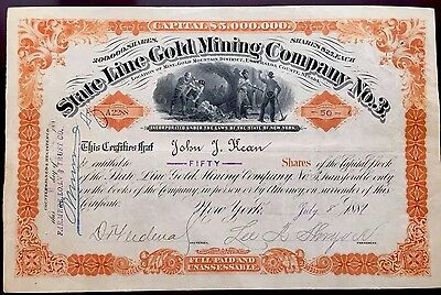 1881 State Line Gold Mining Co. #3 Stock Certificate - AWESOME - EARLY NEVADA!!!