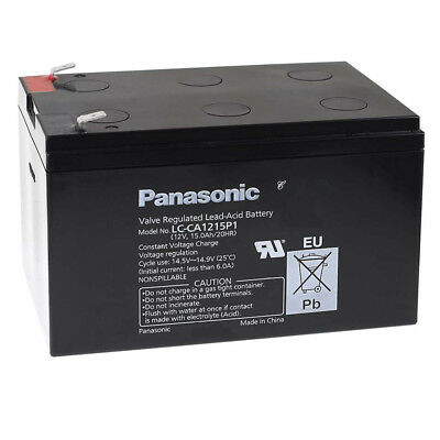 AGM BLEI AKKU 12V 15Ah  PANASONIC LC-CA1215P1 ZYKLENFEST DEEP CYCLE LC-CA1212P1