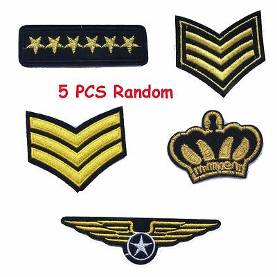 5 pcs Iron-On Craft Sewing Applique Embroidered Patch Army Badge Military Rank