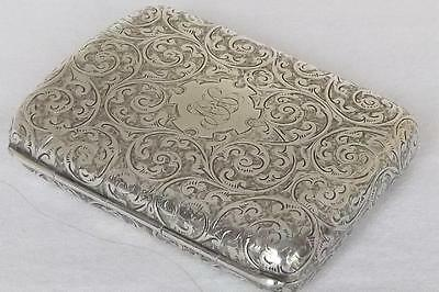 A Stunning Antique Solid Sterling Silver Victorian Cigarette Case Chester 1887.