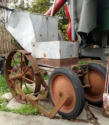 Primitive 1800's Antique SEEDER PLANTER John Deere Firestone tires lol