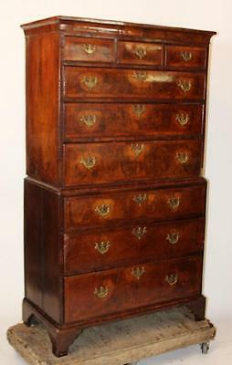 "Antique English Burled Mahogany Georgian Chest on Chest  H 72"" 7 drawers 18th C"