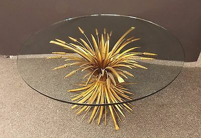 Hollywood Regency Gold Gilt Sheaf Wheat End Table W/round Glass Top