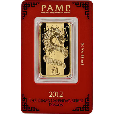 PAMP SUISSE 2012 Year of the Dragon 1 oz Gold Bar .9999 PURE